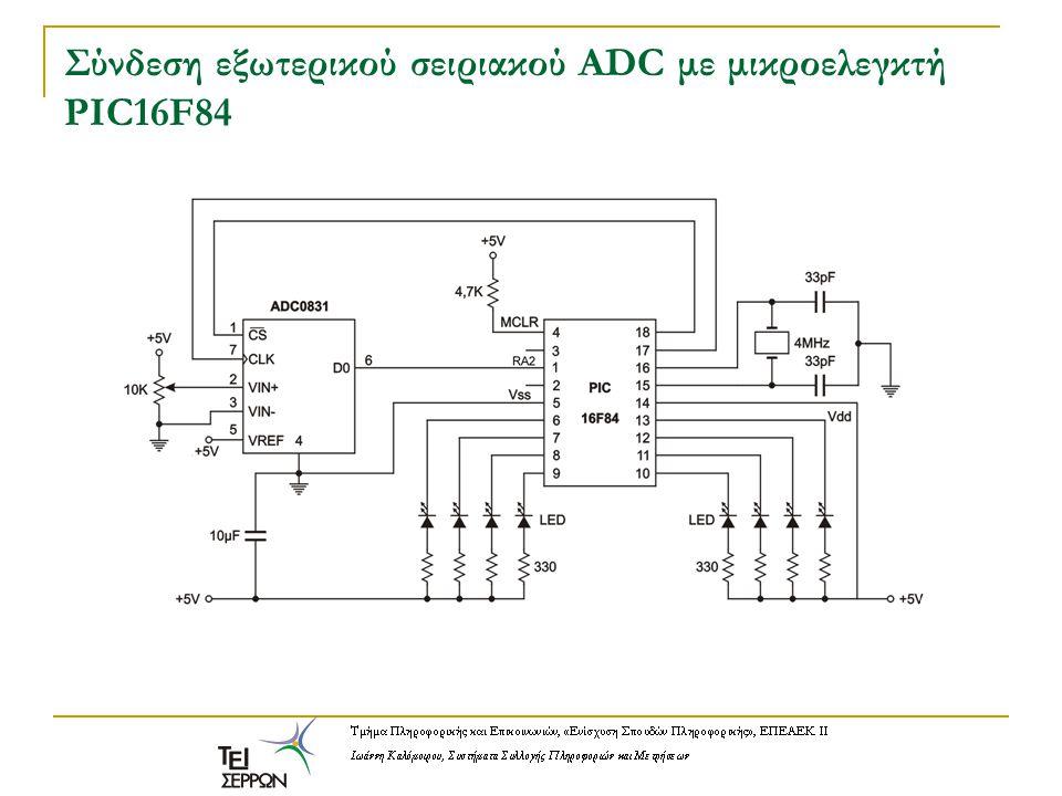 Σύνδεση εξωτερικού σειριακού ADC με μικροελεγκτή PIC16F84
