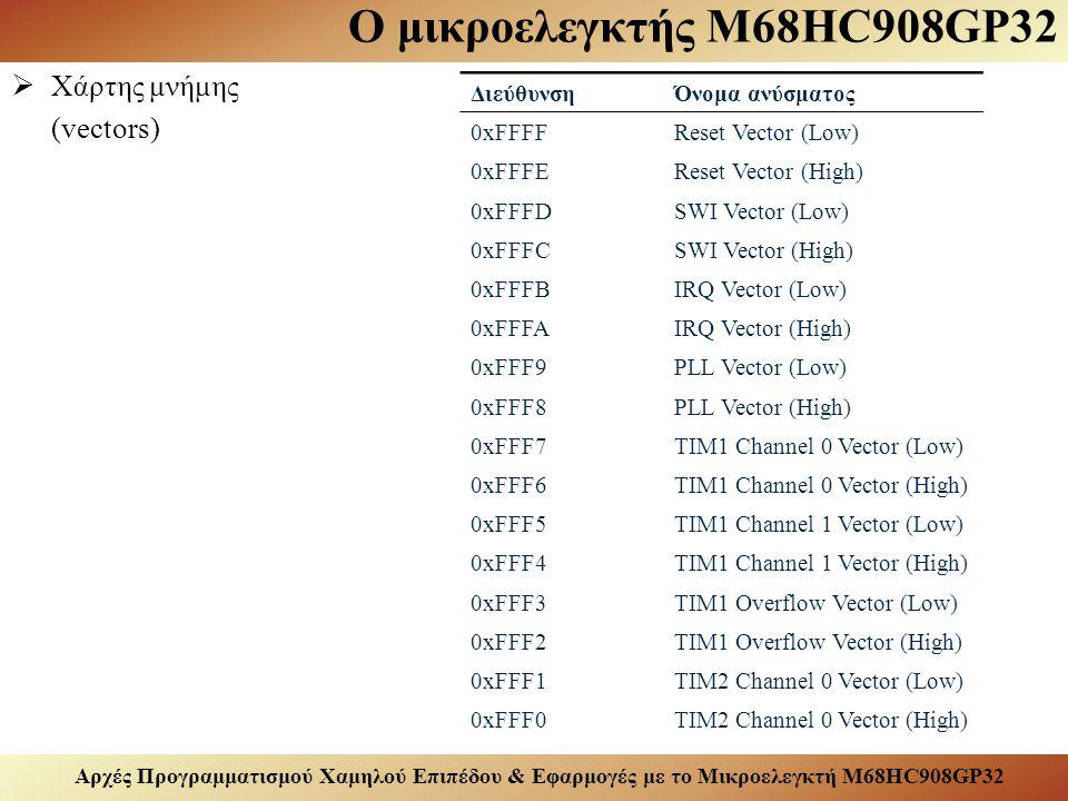 Αρχές Προγραμματισμού Χαμηλού Επιπέδου & Εφαρμογές με το Μικροελεγκτή M68HC908GP32 Ο μικροελεγκτής M68HC908GP32  Χάρτης μνήμης (vectors) ΔιεύθυνσηΌνομα ανύσματος 0xFFFFReset Vector (Low) 0xFFFEReset Vector (High) 0xFFFDSWI Vector (Low) 0xFFFCSWI Vector (High) 0xFFFBIRQ Vector (Low) 0xFFFAIRQ Vector (High) 0xFFF9PLL Vector (Low) 0xFFF8PLL Vector (High) 0xFFF7TIM1 Channel 0 Vector (Low) 0xFFF6TIM1 Channel 0 Vector (High) 0xFFF5TIM1 Channel 1 Vector (Low) 0xFFF4TIM1 Channel 1 Vector (High) 0xFFF3TIM1 Overflow Vector (Low) 0xFFF2TIM1 Overflow Vector (High) 0xFFF1TIM2 Channel 0 Vector (Low) 0xFFF0TIM2 Channel 0 Vector (High)