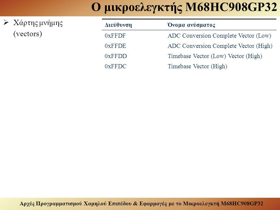 Αρχές Προγραμματισμού Χαμηλού Επιπέδου & Εφαρμογές με το Μικροελεγκτή M68HC908GP32 Ο μικροελεγκτής M68HC908GP32  Χάρτης μνήμης (vectors) ΔιεύθυνσηΌνομα ανύσματος 0xFFDFADC Conversion Complete Vector (Low) 0xFFDEADC Conversion Complete Vector (High) 0xFFDDTimebase Vector (Low) Vector (High) 0xFFDCTimebase Vector (High)