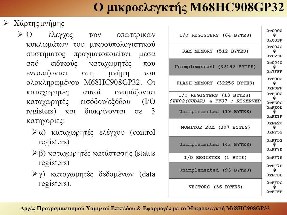Αρχές Προγραμματισμού Χαμηλού Επιπέδου & Εφαρμογές με το Μικροελεγκτή M68HC908GP32 Ο μικροελεγκτής M68HC908GP32  Χάρτης μνήμης  Ο έλεγχος των εσωτερικών κυκλωμάτων του μικροϋπολογιστικού συστήματος πραγματοποιείται μέσα από ειδικούς καταχωρητές που εντοπίζονται στη μνήμη του ολοκληρωμένου M68HC908GP32.
