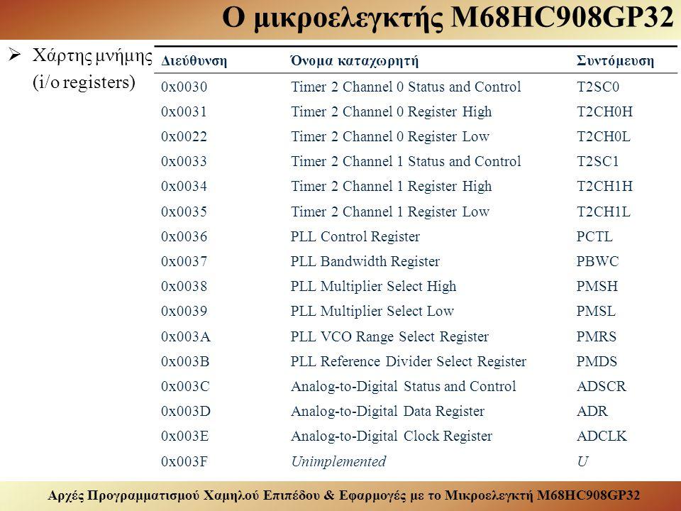 Αρχές Προγραμματισμού Χαμηλού Επιπέδου & Εφαρμογές με το Μικροελεγκτή M68HC908GP32 Ο μικροελεγκτής M68HC908GP32  Χάρτης μνήμης (i/o registers) ΔιεύθυνσηΌνομα καταχωρητήΣυντόμευση 0x0030Timer 2 Channel 0 Status and ControlT2SC0 0x0031Timer 2 Channel 0 Register HighT2CH0H 0x0022Timer 2 Channel 0 Register LowT2CH0L 0x0033Timer 2 Channel 1 Status and ControlT2SC1 0x0034Timer 2 Channel 1 Register HighT2CH1H 0x0035Timer 2 Channel 1 Register LowT2CH1L 0x0036PLL Control RegisterPCTL 0x0037PLL Bandwidth RegisterPBWC 0x0038PLL Multiplier Select HighPMSH 0x0039PLL Multiplier Select LowPMSL 0x003APLL VCO Range Select RegisterPMRS 0x003BPLL Reference Divider Select RegisterPMDS 0x003CAnalog-to-Digital Status and ControlADSCR 0x003DAnalog-to-Digital Data RegisterADR 0x003EAnalog-to-Digital Clock RegisterADCLK 0x003FUnimplementedU