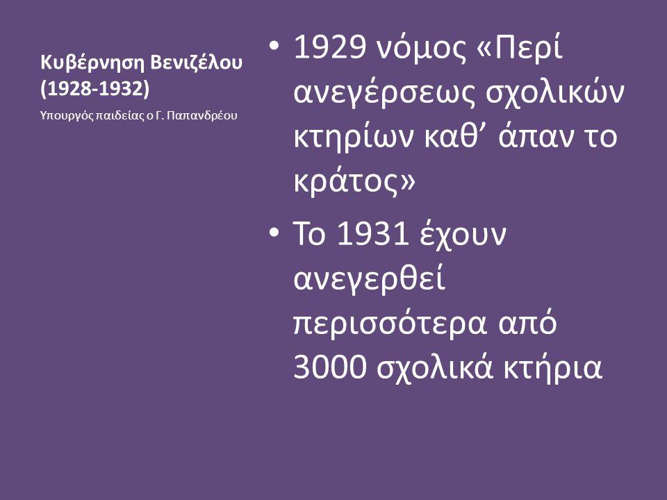 Κυβέρνηση Βενιζέλου (1928-1932) 1929 νόμος «Περί ανεγέρσεως σχολικών κτηρίων καθ' άπαν το κράτος» Το 1931 έχουν ανεγερθεί περισσότερα από 3000 σχολικά