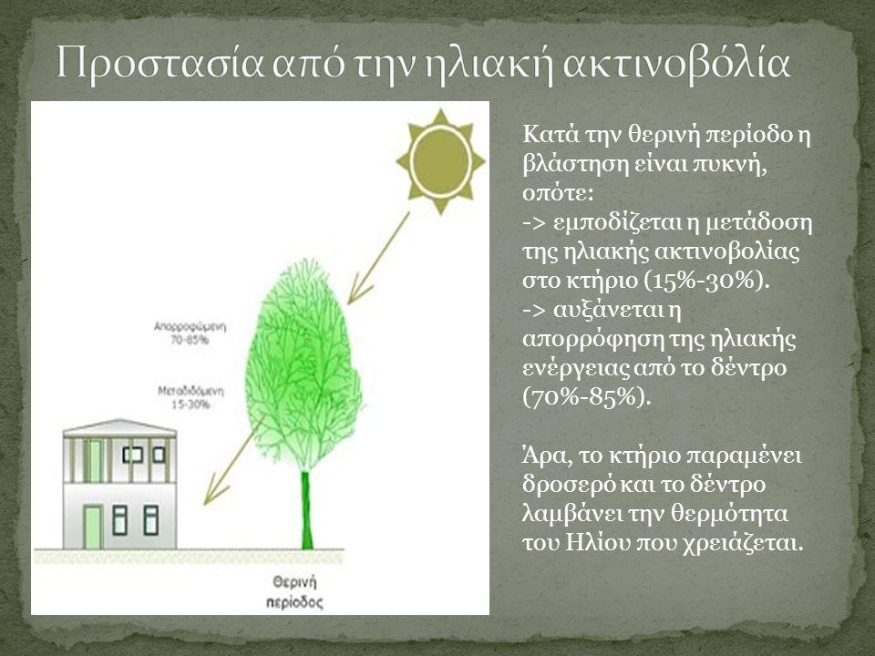 Κατά την θερινή περίοδο η βλάστηση είναι πυκνή, οπότε: -> εμποδίζεται η μετάδοση της ηλιακής ακτινοβολίας στο κτήριο (15%-30%). -> αυξάνεται η απορρόφ