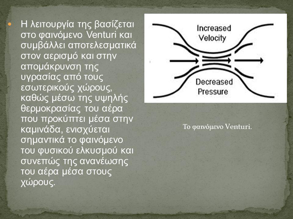 Η λειτουργία της βασίζεται στο φαινόμενο Venturi και συμβάλλει αποτελεσματικά στον αερισμό και στην απομάκρυνση της υγρασίας από τους εσωτερικούς χώρο