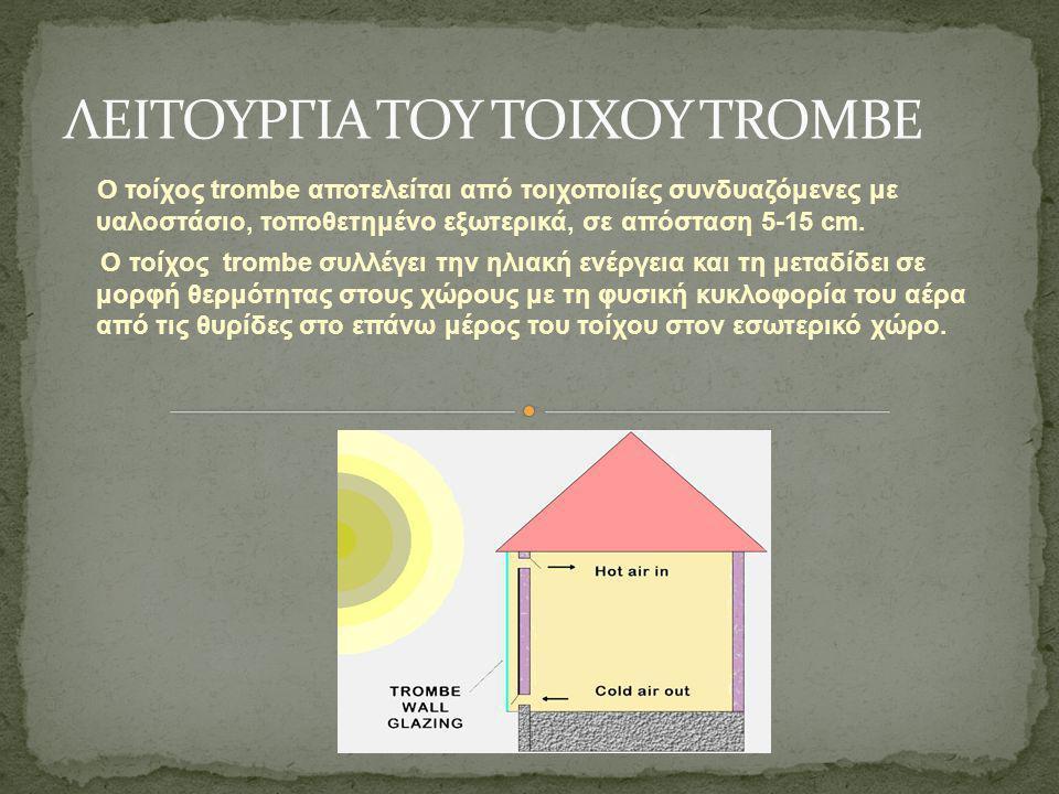 O τοίχος trombe αποτελείται από τοιχοποιίες συνδυαζόμενες με υαλοστάσιο, τοποθετημένο εξωτερικά, σε απόσταση 5-15 cm. Ο τοίχος trombe συλλέγει την ηλι