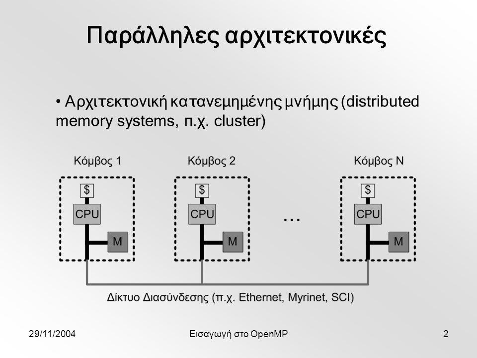 29/11/2004Εισαγωγή στο OpenMP43 Εκτέλεση υβριδικού προγράμματος MPI+OpenMP Linux cluster 8 dual PIII 800MHz κόμβων (twins) Το πολύ 8 διεργασίες MPI x 2 νήματα OpenMP/διεργασία ssh2 danaos.cslab.ntua.gr ; ssh2 twin1 Intel compiler C++ 8.1 icc (στο /usr/local/intel/compiler80/ia32/bin) MPI με icc στο /usr/local/mpich-intel για υβριδικό μοντέλο