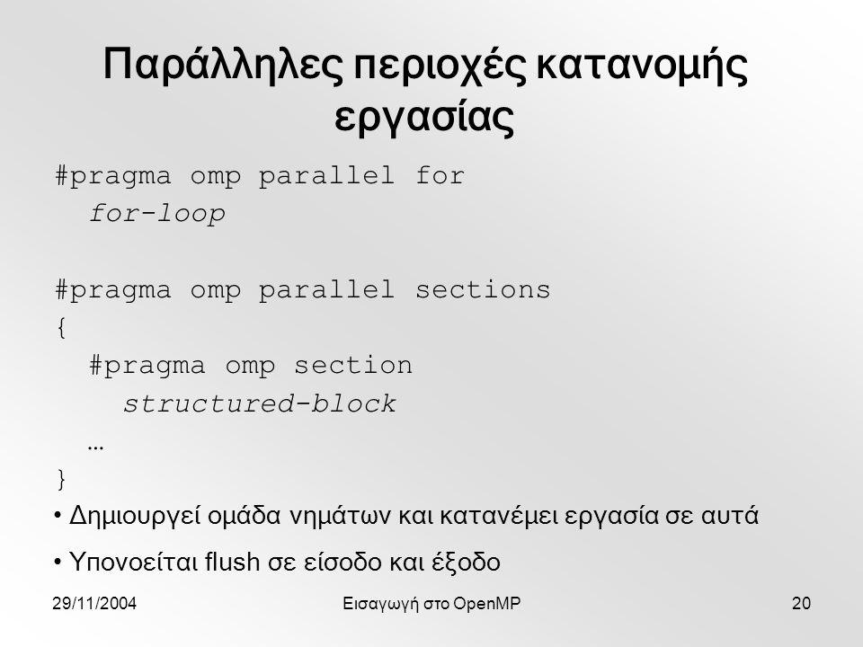 29/11/2004Εισαγωγή στο OpenMP20 #pragma omp parallel for for-loop #pragma omp parallel sections { #pragma omp section structured-block … } Δημιουργεί ομάδα νημάτων και κατανέμει εργασία σε αυτά Υπονοείται flush σε είσοδο και έξοδο Παράλληλες περιοχές κατανομής εργασίας