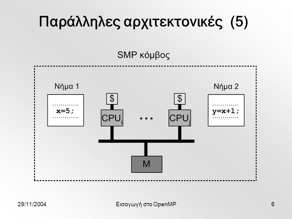 29/11/2004Εισαγωγή στο OpenMP27 #pragma omp parallel { #pragma omp barrier #pragma omp master gettimeofday(start,(struct timezone*)NULL); work(); #pragma omp barrier #pragma omp master { gettimeofday(finish,(struct timezone*)NULL); print_stats(start,finish); } Παράδειγμα – χρονομέτρηση