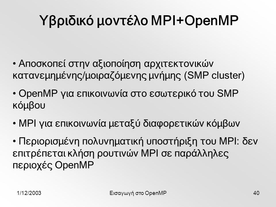 1/12/2003Εισαγωγή στο OpenMP40 Υβριδικό μοντέλο MPI+OpenMP Αποσκοπεί στην αξιοποίηση αρχιτεκτονικών κατανεμημένης/μοιραζόμενης μνήμης (SMP cluster) OpenMP για επικοινωνία στο εσωτερικό του SMP κόμβου MPI για επικοινωνία μεταξύ διαφορετικών κόμβων Περιορισμένη πολυνηματική υποστήριξη του MPI: δεν επιτρέπεται κλήση ρουτινών MPI σε παράλληλες περιοχές OpenMP