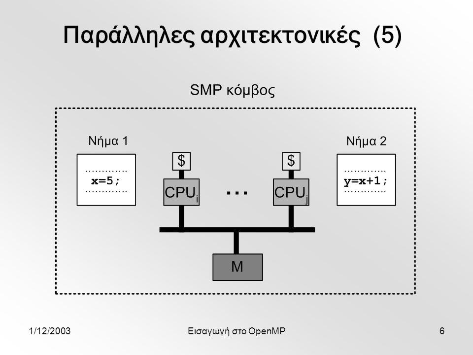 1/12/2003Εισαγωγή στο OpenMP6 Παράλληλες αρχιτεκτονικές (5)