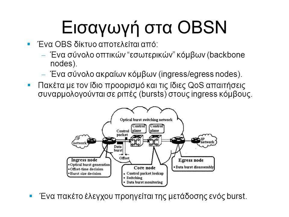 """Εισαγωγή στα OBSN  Ένα πακέτο έλεγχου προηγείται της μετάδοσης ενός burst.  Ένα OBS δίκτυο αποτελείται από:  Ένα σύνολο οπτικών """"εσωτερικών"""" κόμβων"""