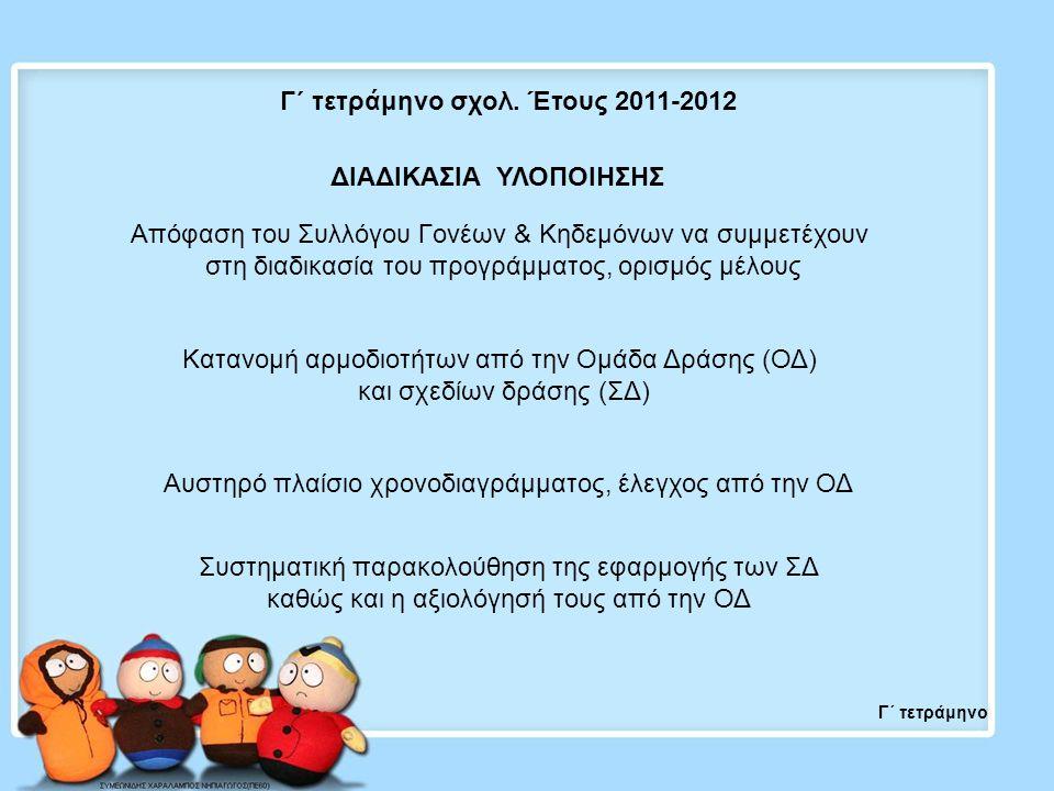 Γ΄ τετράμηνο ΔΙΑΔΙΚΑΣΙΑ ΥΛΟΠΟΙΗΣΗΣ Γ΄ τετράμηνο σχολ. Έτους 2011-2012 Απόφαση του Συλλόγου Γονέων & Κηδεμόνων να συμμετέχουν στη διαδικασία του προγρά