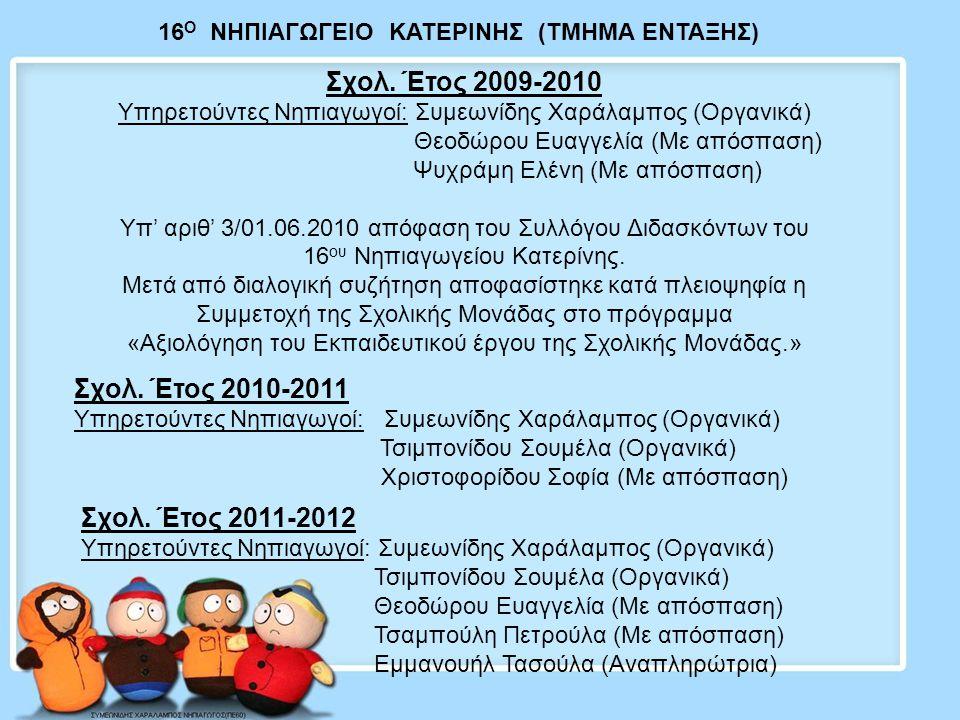 Οι διαδικασίες αξιολόγησης που ακολούθησε η σχολική μονάδα για τη γενική εκτίμηση της εικόνας της, είναι οι εξής: Στις 29/10/2010, 16/11/2010, μετά το πέρας του ημερήσιου προγράμματος, πραγματοποιήθηκαν ενημερωτικές συναντήσεις του Συλλόγου Διδασκόντων, με πρωτοβουλία της οικείας Συμβούλου Προσχολικής Αγωγής και με θέμα: Eνημέρωση σχετικά με το Πρόγραμμα «Αξιολόγηση Εκπ/κού Έργου» Ορίστηκαν μέλη της Ομάδας ΑΕΕΥπεύθυνος, Συντονίστρια, Πρακτικογράφος Απαραίτητη κρίθηκε η χρήση ημερολογίου και η καταγραφή στα Πρακτικά του Συλλόγου Διδασκόντων της πορείας των σημαντικότερων σημείων της διαδικασίας και των αποφάσεων.