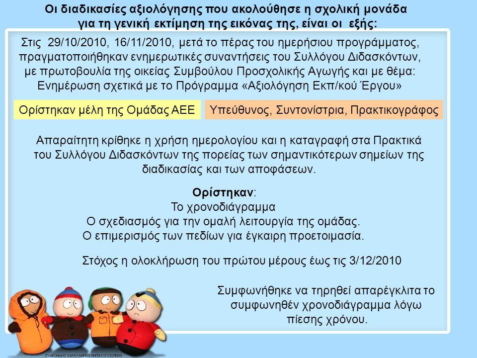 Οι διαδικασίες αξιολόγησης που ακολούθησε η σχολική μονάδα για τη γενική εκτίμηση της εικόνας της, είναι οι εξής: Στις 29/10/2010, 16/11/2010, μετά το