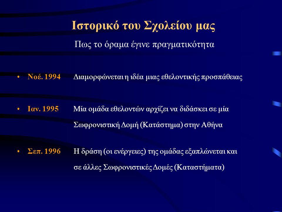Ιστορικό του Σχολείου μας Πως το όραμα έγινε πραγματικότητα Νοέ. 1994Διαμορφώνεται η ιδέα μιας εθελοντικής προσπάθειας Ιαν. 1995Μία ομάδα εθελοντών αρ