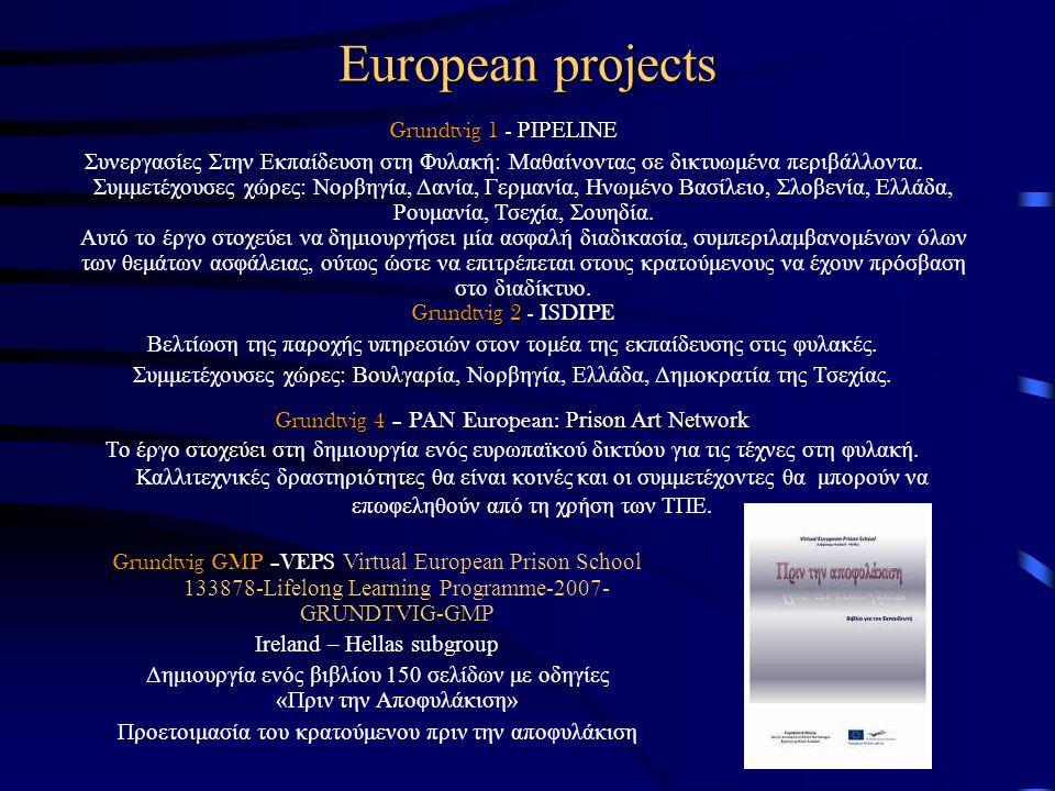 European projects Grundtvig 1 PIPELINE Grundtvig 1 - PIPELINE Συνεργασίες Στην Εκπαίδευση στη Φυλακή: Μαθαίνοντας σε δικτυωμένα περιβάλλοντα. Συμμετέχ