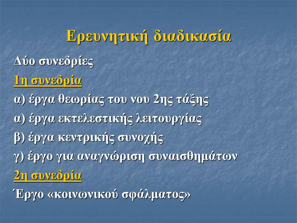 Ερευνητική διαδικασία Δύο συνεδρίες 1η συνεδρία α) έργα θεωρίας του νου 2ης τάξης α) έργα εκτελεστικής λειτουργίας β) έργα κεντρικής συνοχής γ) έργο γ