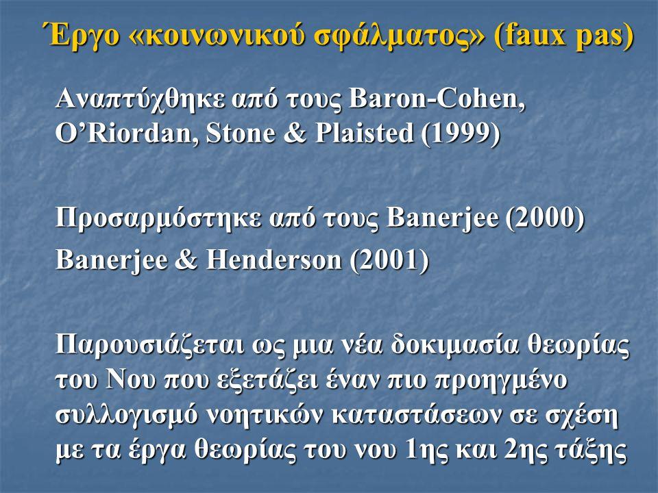 Έργο «κοινωνικού σφάλματος» (faux pas) Αναπτύχθηκε από τους Baron-Cohen, O'Riordan, Stone & Plaisted (1999) Προσαρμόστηκε από τους Banerjee (2000) Ban