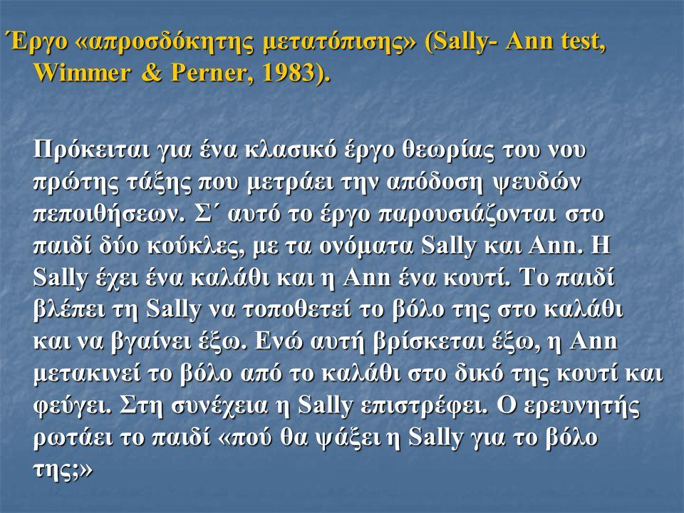 Έργο «απροσδόκητης μετατόπισης» (Sally- Ann test, Wimmer & Perner, 1983). Πρόκειται για ένα κλασικό έργο θεωρίας του νου πρώτης τάξης που μετράει την