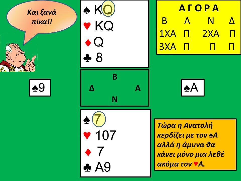♠ KQ ♥ KQ  Q ♣ 8 ♠ 7 ♥ 107  7 ♣ A9 Β Δ Α Ν Α Γ Ο Ρ Α Β Α Ν Δ 1ΧΑ Π Α Γ Ο Ρ Α Β Α Ν Δ 1ΧΑ Π 2ΧΑ Π Α Γ Ο Ρ Α Β Α Ν Δ 1ΧΑ Π 2ΧΑ Π 3ΧΑ Π Π Π ♠9♠Α Τώρα η Ανατολή κερδίζει με τον ♠ Α αλλά η άμυνα θα κάνει μόνο μια λεβέ ακόμα τον ♥ Α.