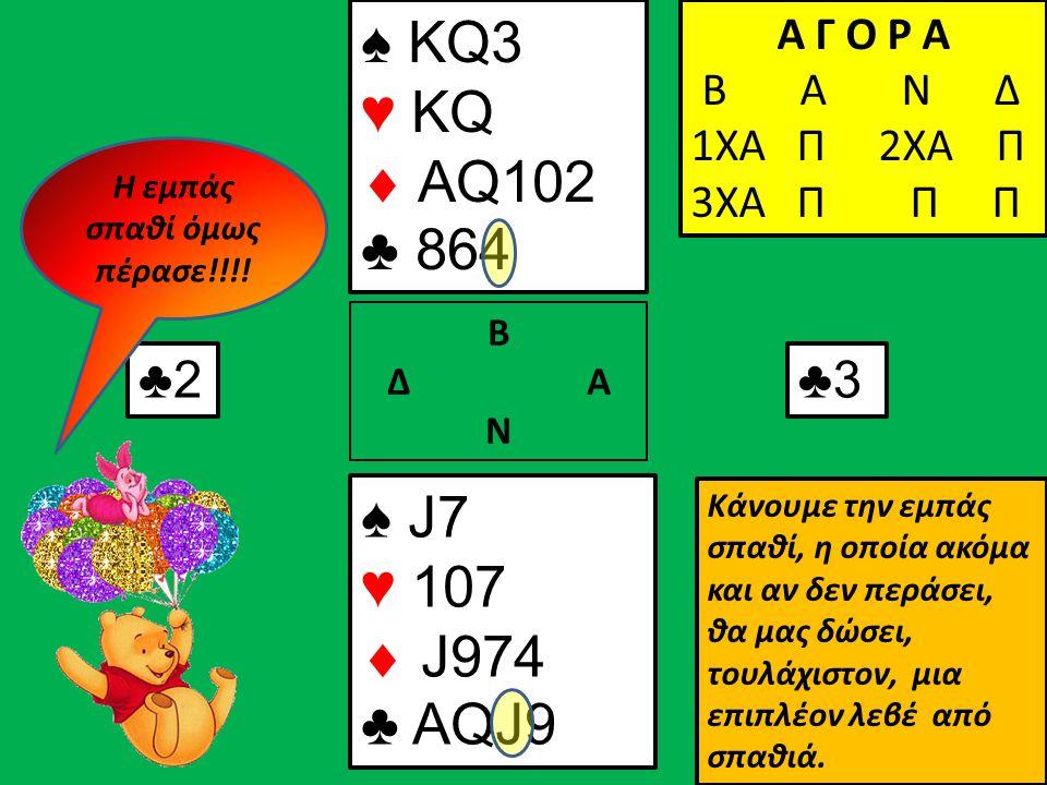 ♠ KQ3 ♥ KQ  AQ102 ♣ 864 ♠ J7 ♥ 107  J974 ♣ AQJ9 Β Δ Α Ν Α Γ Ο Ρ Α Β Α Ν Δ 1ΧΑ Π Α Γ Ο Ρ Α Β Α Ν Δ 1ΧΑ Π 2ΧΑ Π Α Γ Ο Ρ Α Β Α Ν Δ 1ΧΑ Π 2ΧΑ Π 3ΧΑ Π Π Π ♣2♣3 Κάνουμε την εμπάς σπαθί, η οποία ακόμα και αν δεν περάσει, θα μας δώσει, τουλάχιστον, μια επιπλέον λεβέ από σπαθιά.