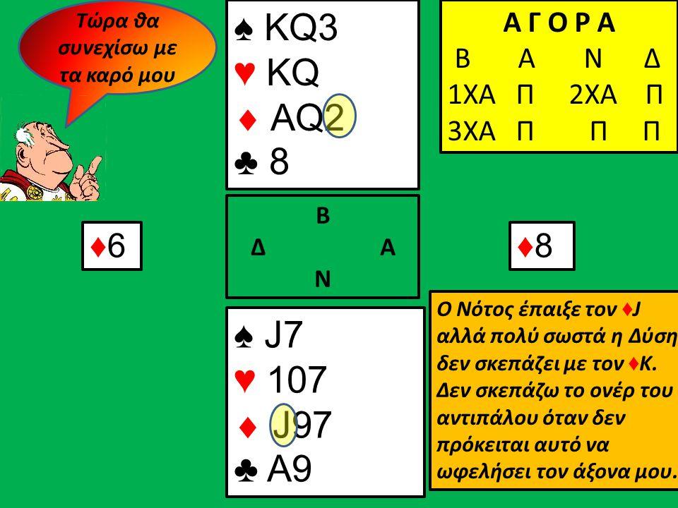 ♠ KQ3 ♥ KQ  AQ2 ♣ 8 ♠ J7 ♥ 107  J97 ♣ A9 Β Δ Α Ν Α Γ Ο Ρ Α Β Α Ν Δ 1ΧΑ Π Α Γ Ο Ρ Α Β Α Ν Δ 1ΧΑ Π 2ΧΑ Π Α Γ Ο Ρ Α Β Α Ν Δ 1ΧΑ Π 2ΧΑ Π 3ΧΑ Π Π Π ♦6♦6♦8♦8 Ο Νότος έπαιξε τον ♦ J αλλά πολύ σωστά η Δύση δεν σκεπάζει με τον ♦ Κ.