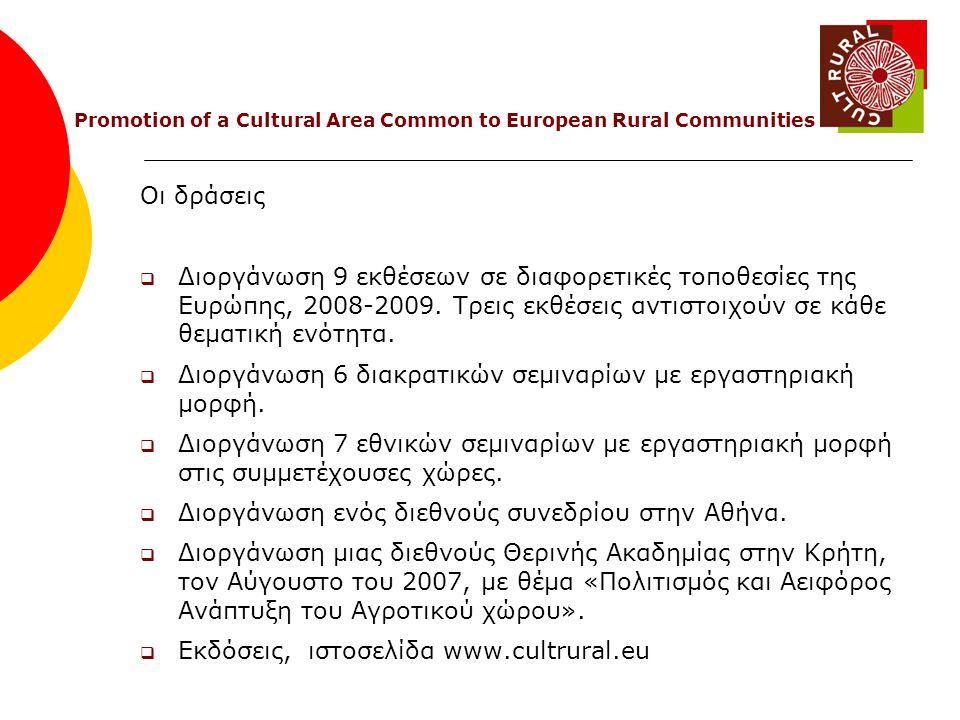 Οι δράσεις  Διοργάνωση 9 εκθέσεων σε διαφορετικές τοποθεσίες της Ευρώπης, 2008-2009.