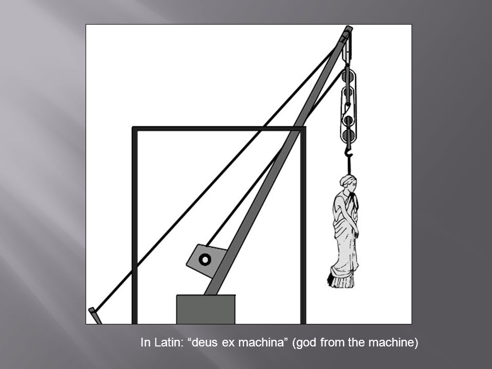In Latin: deus ex machina (god from the machine)