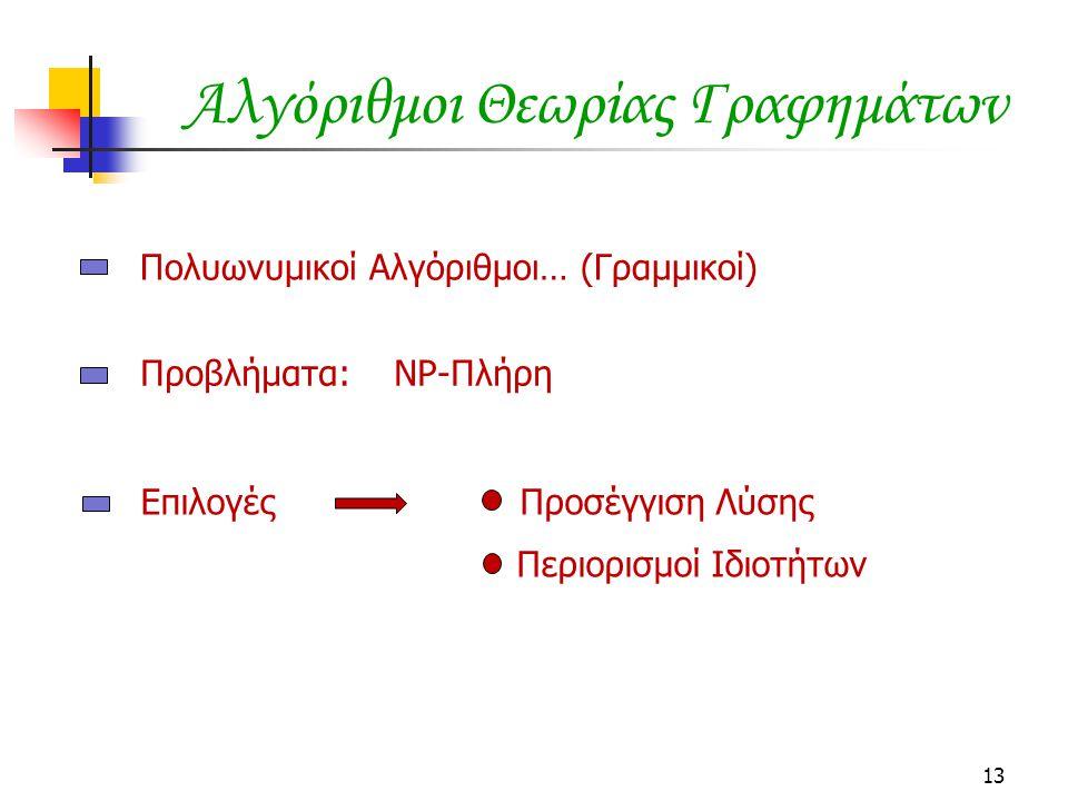 13 Αλγόριθμοι Θεωρίας Γραφημάτων Πολυωνυμικοί Αλγόριθμοι… (Γραμμικοί) Προβλήματα: NP-Πλήρη Επιλογές Προσέγγιση Λύσης Περιορισμοί Ιδιοτήτων