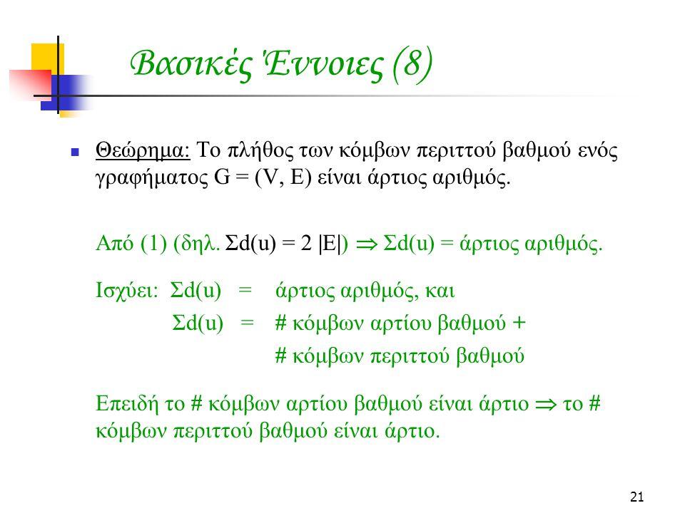 21 Θεώρημα: Το πλήθος των κόμβων περιττού βαθμού ενός γραφήματος G = (V, E) είναι άρτιος αριθμός. Από (1) (δηλ. Σd(u) = 2 |E|)  Σd(u) = άρτιος αριθμό