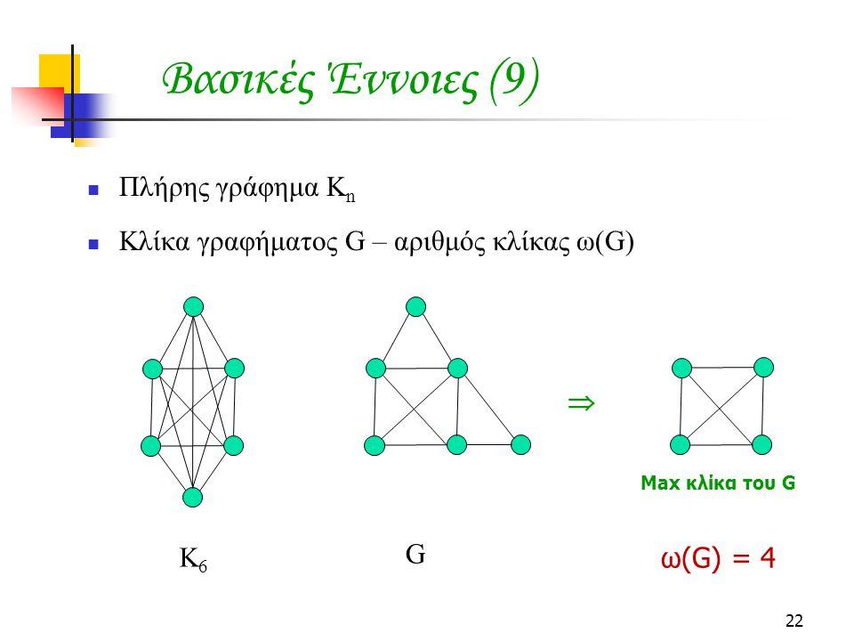 22 Πλήρης γράφημα Κ n Κλίκα γραφήματος G – αριθμός κλίκας ω(G) Βασικές Έννοιες (9) Κ6Κ6 G  Max κλίκα του G ω(G) = 4