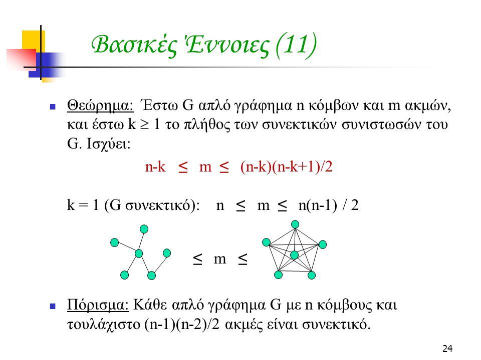 24 Θεώρημα: Έστω G απλό γράφημα n κόμβων και m ακμών, και έστω k  1 το πλήθος των συνεκτικών συνιστωσών του G. Ισχύει: n-k ≤ m ≤ (n-k)(n-k+1)/2 k = 1