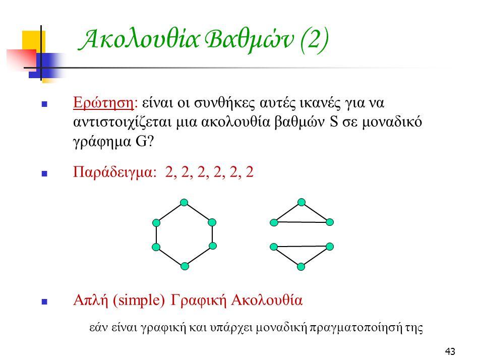 43 Ακολουθία Βαθμών (2) Ερώτηση: είναι οι συνθήκες αυτές ικανές για να αντιστοιχίζεται μια ακολουθία βαθμών S σε μοναδικό γράφημα G? Παράδειγμα: 2, 2,