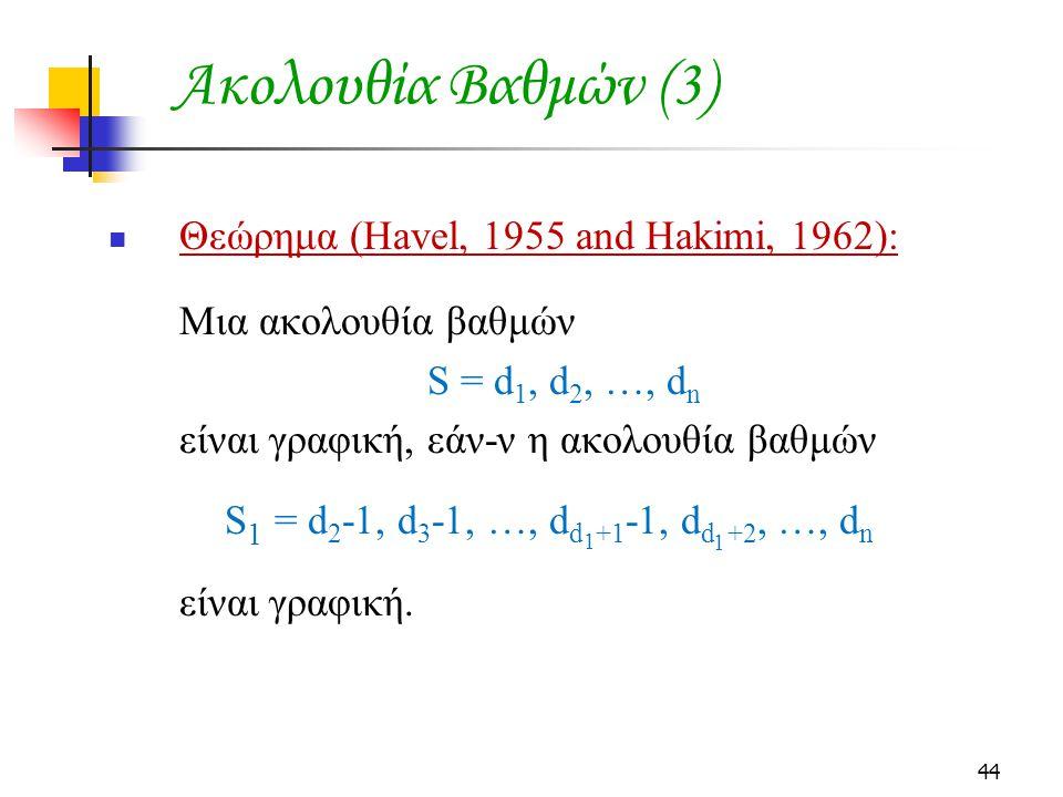 44 Ακολουθία Βαθμών (3) Θεώρημα (Havel, 1955 and Hakimi, 1962): Μια ακολουθία βαθμών S = d 1, d 2, …, d n είναι γραφική, εάν-ν η ακολουθία βαθμών S 1 = d 2 -1, d 3 -1, …, d d +1 -1, d d +2, …, d n είναι γραφική.