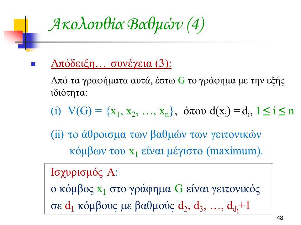 48 Ακολουθία Βαθμών (4) Απόδειξη… συνέχεια (3): Από τα γραφήματα αυτά, έστω G το γράφημα με την εξής ιδιότητα: (i) V(G) = {x 1, x 2, …, x n }, όπου d(x i ) = d i, 1 ≤ i ≤ n (ii) το άθροισμα των βαθμών των γειτονικών κόμβων του x 1 είναι μέγιστο (maximum).