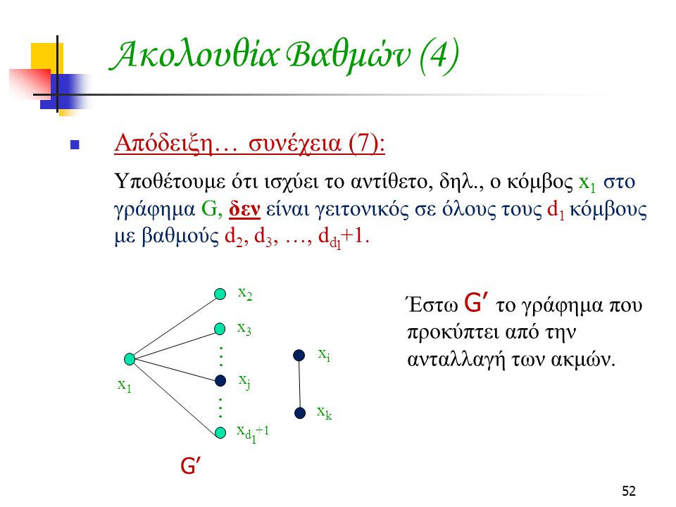 52 Ακολουθία Βαθμών (4) Απόδειξη… συνέχεια (7): Υποθέτουμε ότι ισχύει το αντίθετο, δηλ., ο κόμβος x 1 στο γράφημα G, δεν είναι γειτονικός σε όλους του