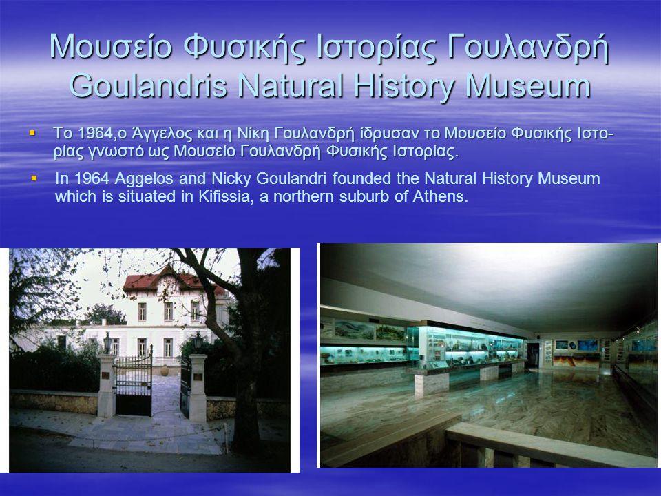 Μουσείο Φυσικής Ιστορίας Γουλανδρή Goulandris Natural History Museum  Το 1964,ο Άγγελος και η Νίκη Γουλανδρή ίδρυσαν το Μουσείο Φυσικής Ιστο- ρίας γν
