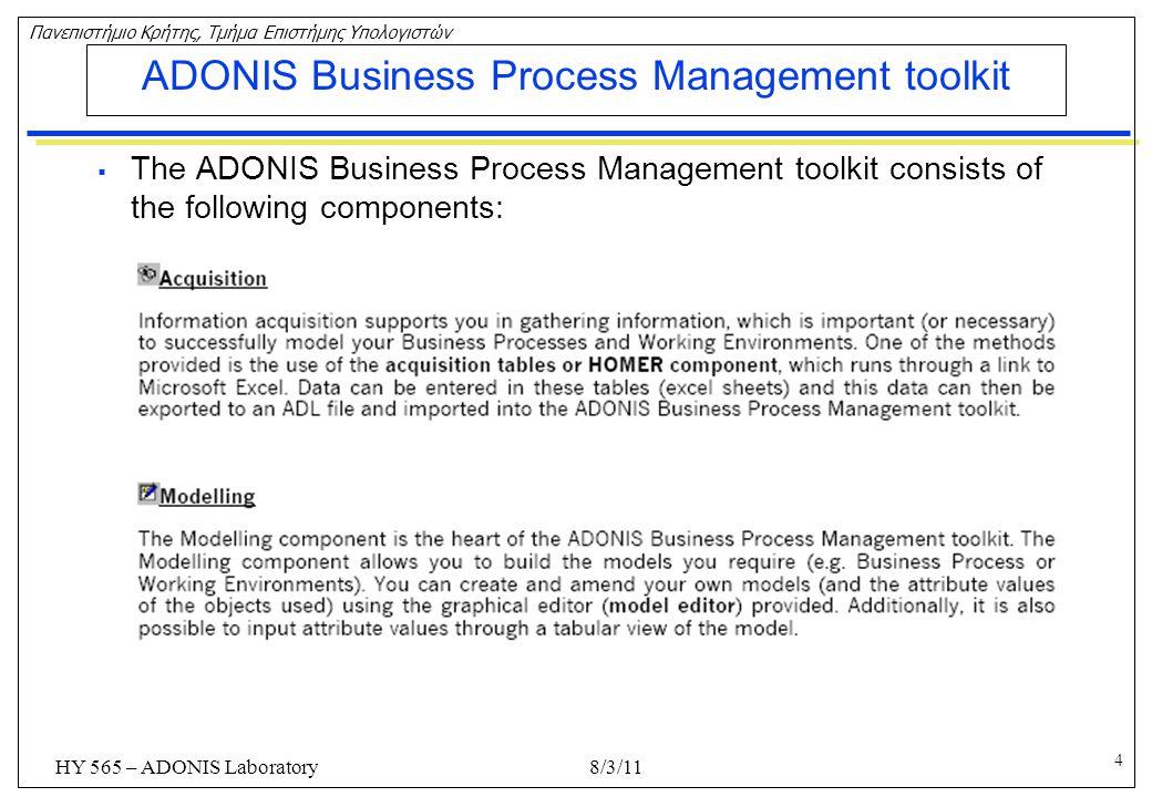 5 Πανεπιστήμιο Κρήτης, Τμήμα Επιστήμης Υπολογιστών HY 565 – ADONIS Laboratory ADONIS Business Process Management toolkit  The ADONIS Business Process Management toolkit consists of the following components: 8/3/11