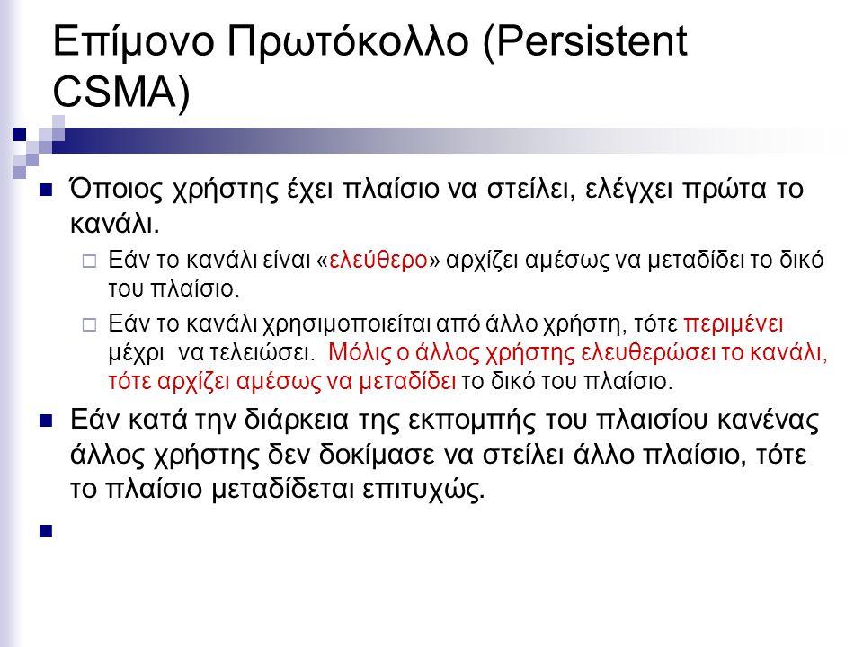 Επίμονο Πρωτόκολλο (Persistent CSMA) Όποιος χρήστης έχει πλαίσιο να στείλει, ελέγχει πρώτα το κανάλι.
