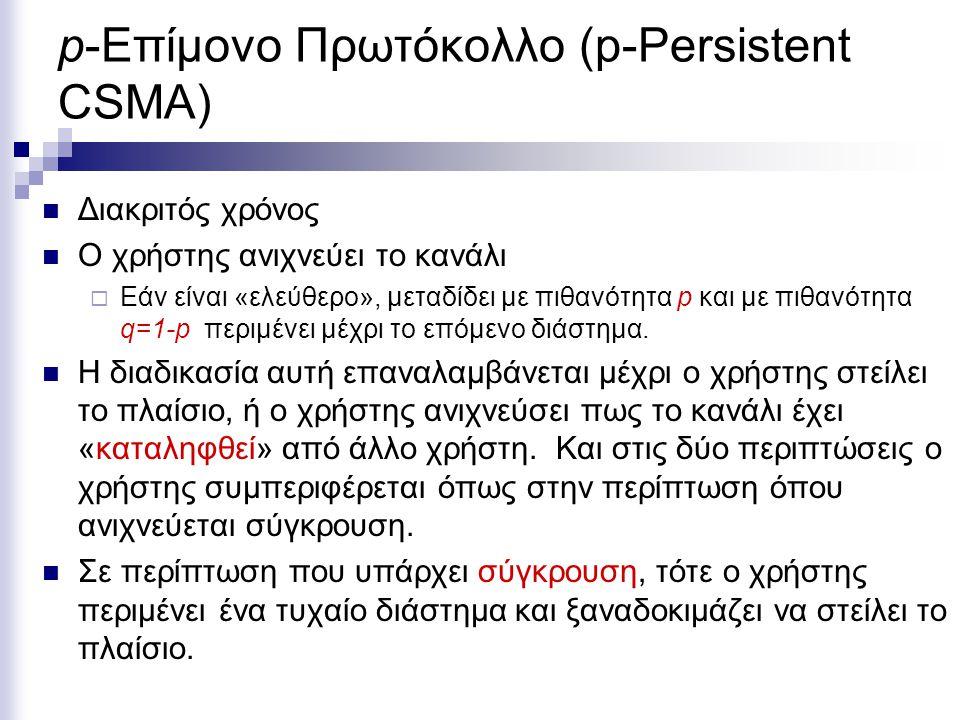 p-Επίμονο Πρωτόκολλο (p-Persistent CSMA) Διακριτός χρόνος Ο χρήστης ανιχνεύει το κανάλι  Εάν είναι «ελεύθερο», μεταδίδει με πιθανότητα p και με πιθανότητα q=1-p περιμένει μέχρι το επόμενο διάστημα.