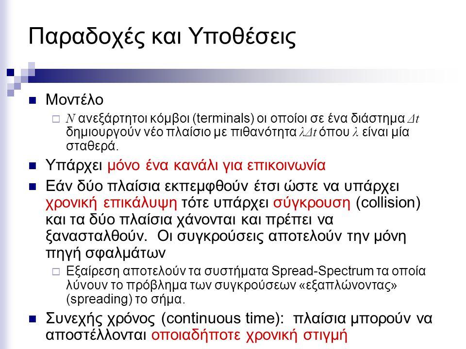 Παραδοχές και Υποθέσεις Διακριτός χρόνος (slotted time): ο χρόνος χωρίζεται σε διακριτά διαστήματα ίσης διάρκειας.