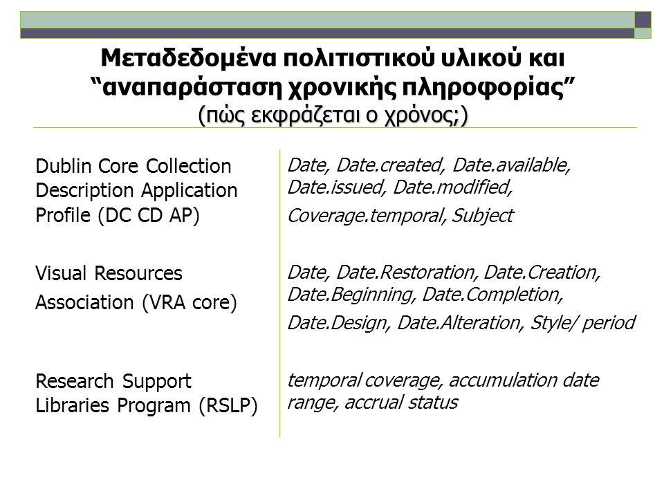 (πώς εκφράζεται ο χρόνος;) Μεταδεδομένα πολιτιστικού υλικού και αναπαράσταση χρονικής πληροφορίας (πώς εκφράζεται ο χρόνος;) Metadata Object Description Schema (MODS) DateIssued, DateCreated, DateCaptured, DateValid, DateModified, CopyrightDate, DateOther Categories for the Description of Works of Art (CDWA) Creation Date, Styles/periods/groups/ movements, Inscriptions/marks Date, Condition/examination history Date, Conservation/treatment history Date, Ownership/collecting history Date, DiscoverDate, Exhibition/loan history, Subject matter, Copyright Date, Architectural context Date, Historical location Date, Critical responses Date, Events Date, Culture, Cataloging history Date Watermarks Date,