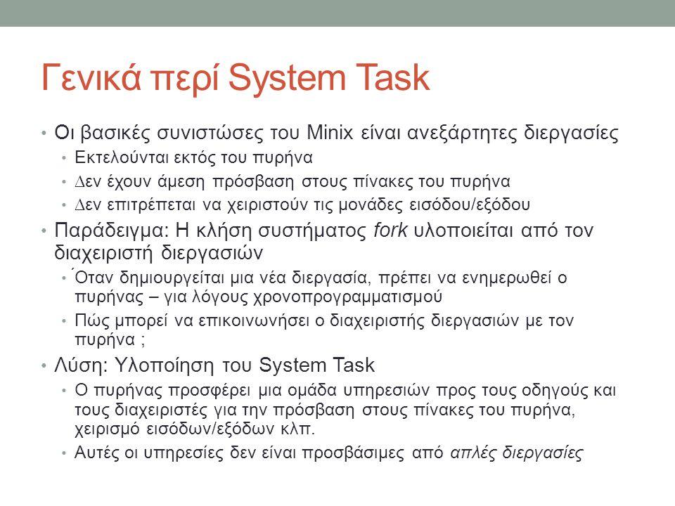 Γενικά περί System Task Οι βασικές συνιστώσες του Minix είναι ανεξάρτητες διεργασίες Εκτελούνται εκτός του πυρήνα ∆εν έχουν άμεση πρόσβασ