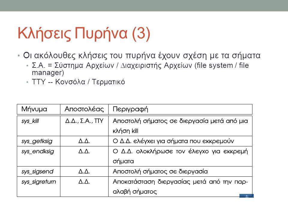 Κλήσεις Πυρήνα (3) Οι ακόλουθες κλήσεις του πυρήνα έχουν σχέση με τα σήματα Σ.Α. = Σύστημα Αρχείων / ∆ιαχειριστής Αρχείων (file system / f