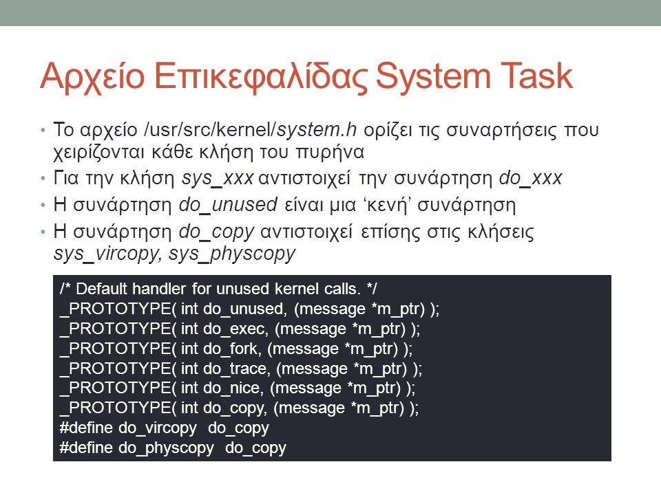 Αρχείο Επικεφαλίδας System Task Το αρχείο /usr/src/kernel/system.h ορίζει τις συναρτήσεις που χειρίζονται κάθε κλήση του πυρήνα Για την κλήσ
