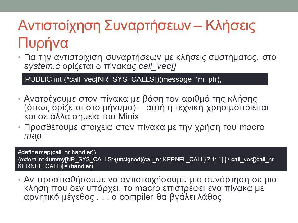 Αντιστοίχηση Συναρτήσεων – Κλήσεις Πυρήνα Για την αντιστοίχιση συναρτήσεων με κλήσεις συστήματος, στο system.c ορίζεται ο πίνακας call_vec[]