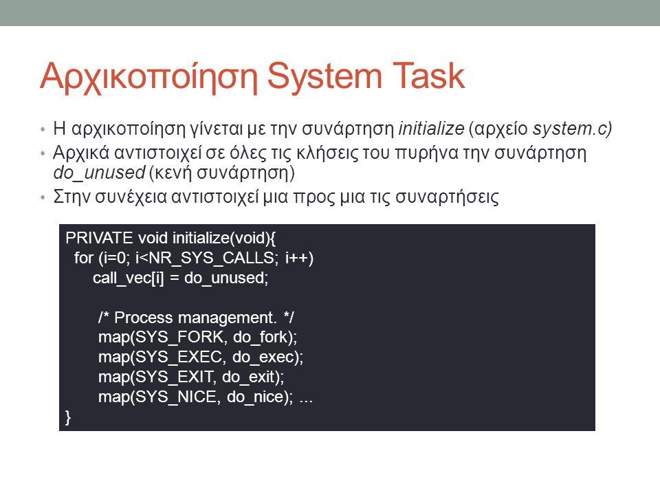 Αρχικοποίηση System Task Η αρχικοποίηση γίνεται με την συνάρτηση initialize (αρχείο system.c) Αρχικά αντιστοιχεί σε όλες τις κλήσεις του πυρη