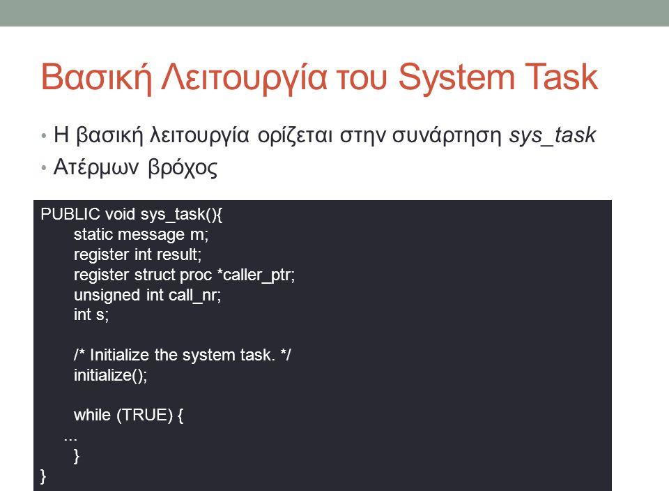 Βασική Λειτουργία του System Task Η βασική λειτουργία ορίζεται στην συνάρτηση sys_task Ατέρμων βρόχος PUBLIC void sys_task(){ static message m