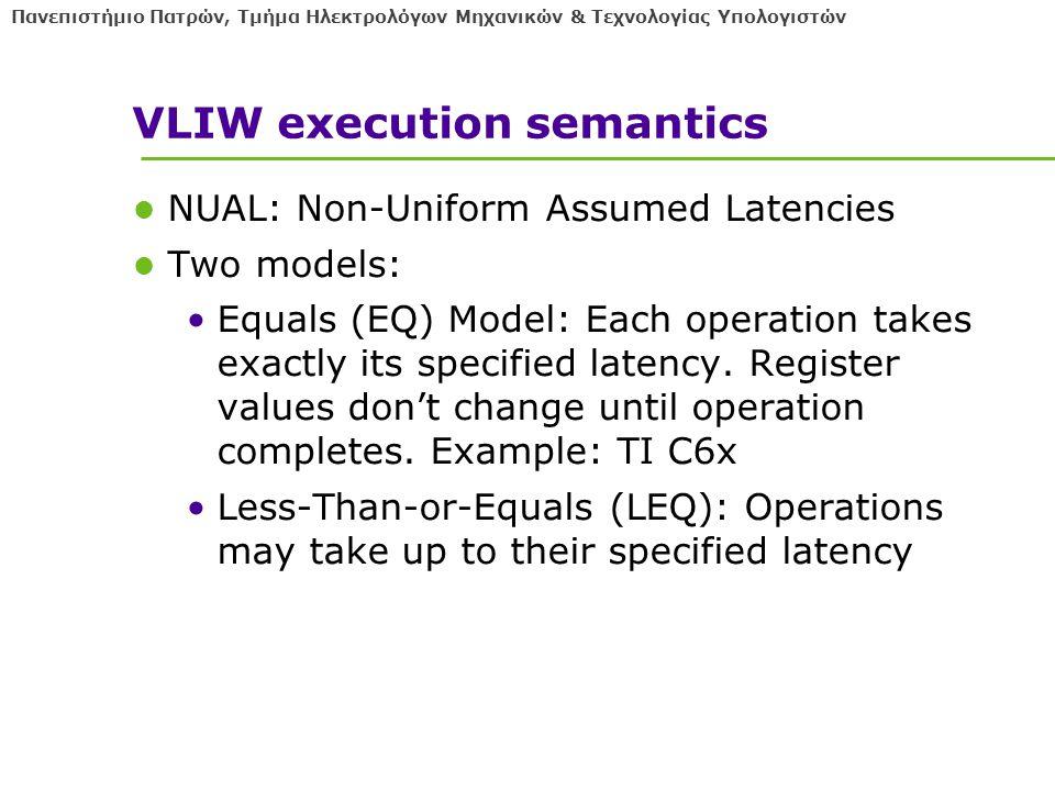 Πανεπιστήμιο Πατρών, Τμήμα Ηλεκτρολόγων Μηχανικών & Τεχνολογίας Υπολογιστών VLIW execution semantics NUAL: Non-Uniform Assumed Latencies Two models: Equals (EQ) Model: Each operation takes exactly its specified latency.