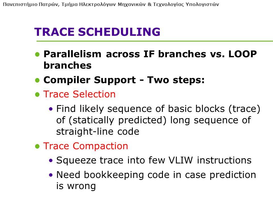 Πανεπιστήμιο Πατρών, Τμήμα Ηλεκτρολόγων Μηχανικών & Τεχνολογίας Υπολογιστών TRACE SCHEDULING Parallelism across IF branches vs.
